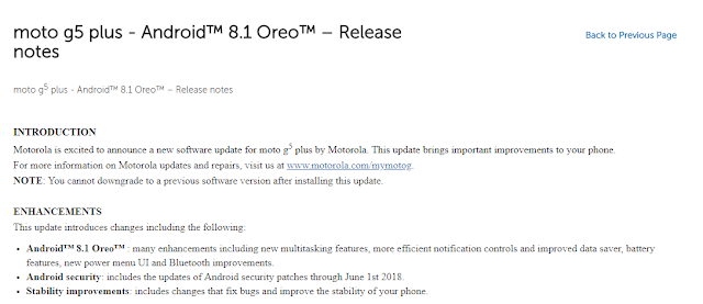 Moto G5 Plus and Moto G5 Android 8.1 Oreo Update is on Its Way