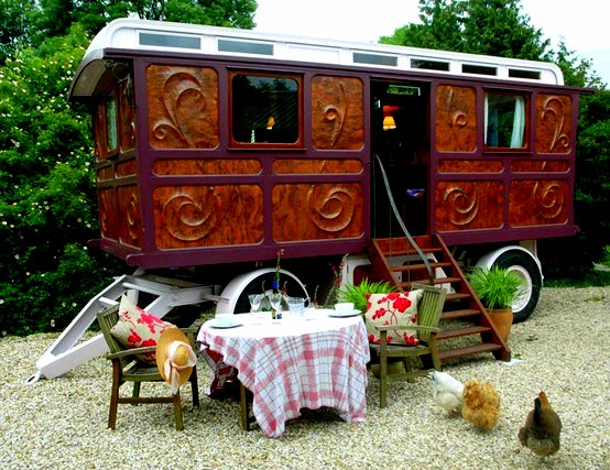 the flying tortoise  tiny colourful gypsy wagons for the