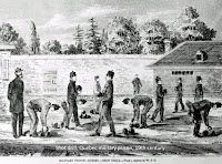 Prisoners doing 'shot drill, Quebec prison, 19th century