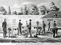 Prisoners doing 'shot drill, Quebec prison, 19th century