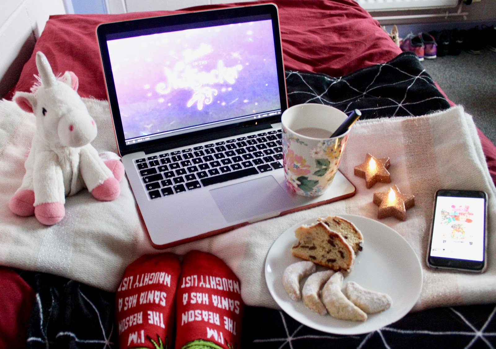 Cozy Afternoon Tea with Christmas Cookies and Tea