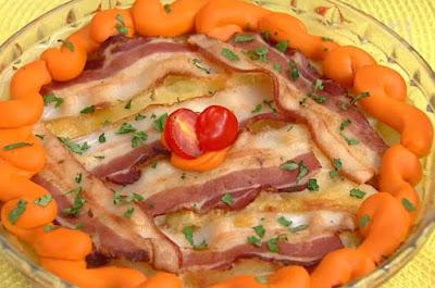 Torta fácil de batata com bacon