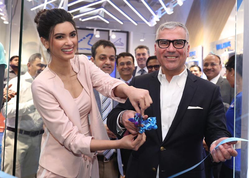 Diana Penty with Alexis Nasard at the World's first exclusive Power store launch