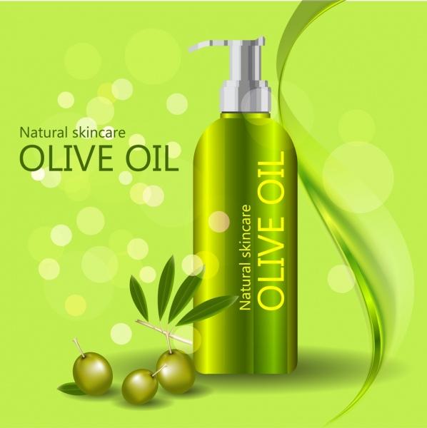 Olive oil advertisement shiny green design bokeh backdrop Free vector
