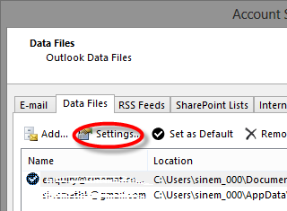 data files in outlook 2013