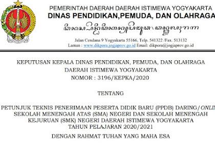 ppdb.jogjaprov.go.id 2020 : Download Juknis PPDB Online SMA/SMK Yogyakarta 2020-2021