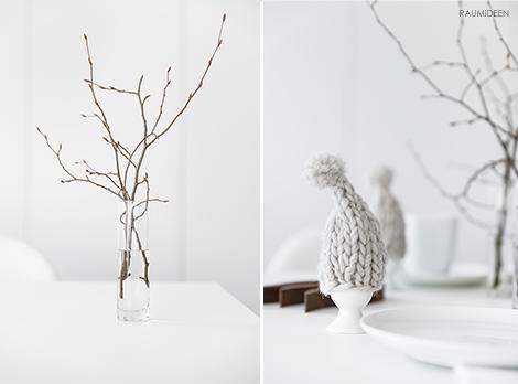 Winterliche Dekoration mit Zweigen