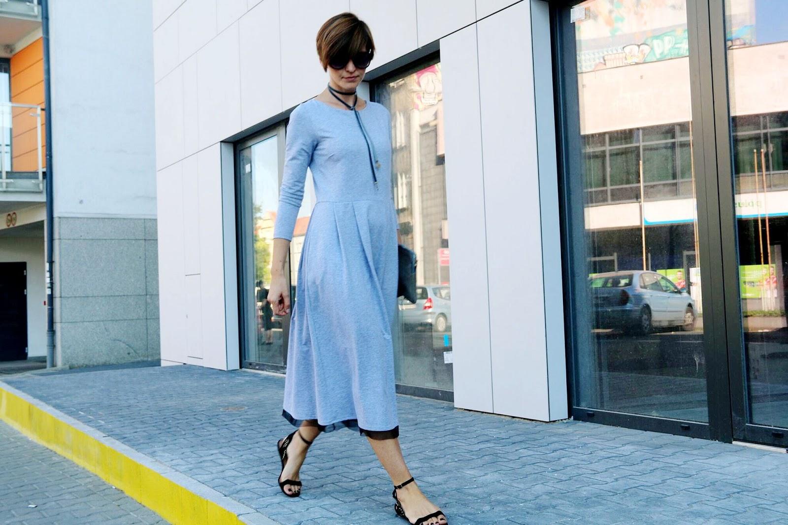sukienka 7/8, jak nosić sukienke 7/8, midi, szara sukienka, porady stylistki, blog po 30-tce, stylistka Poznań, klasyczna stylizacja,