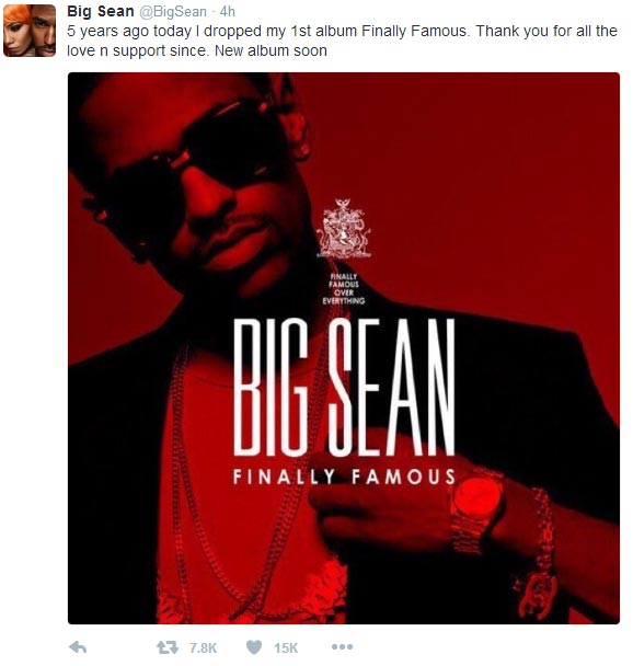 "Big Sean reminiscences about dropping his first album ""Finally Famous"" four years ago"