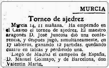 Noticia sobre el I Torneo Nacional de Ajedrez de Murcia 1927 en ABC, 15 de abril de 1927