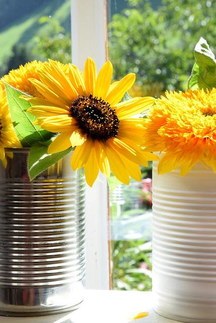 Sonnenblumen in Dosenvasen