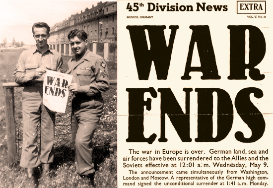 C. J. Barnes holding War Ends sign during World War II