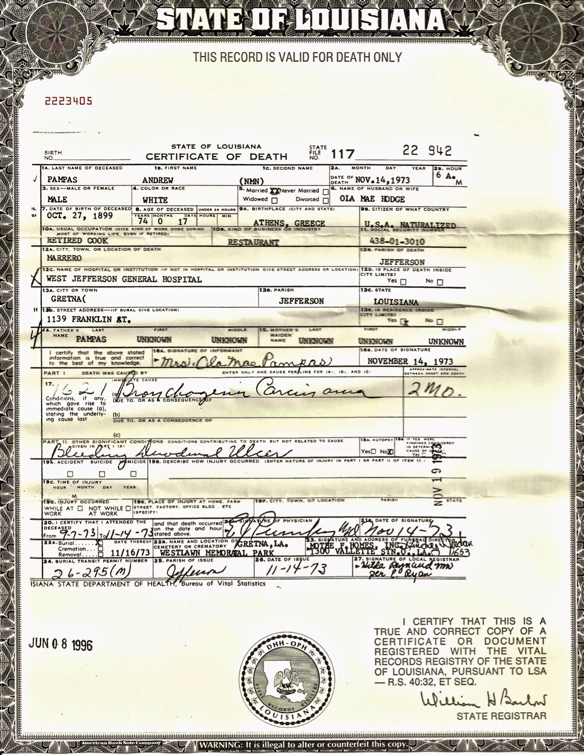 Amys family history andrea andrew pampas sr 52 ancestors andrew pampas state of louisiana death certificate aiddatafo Images