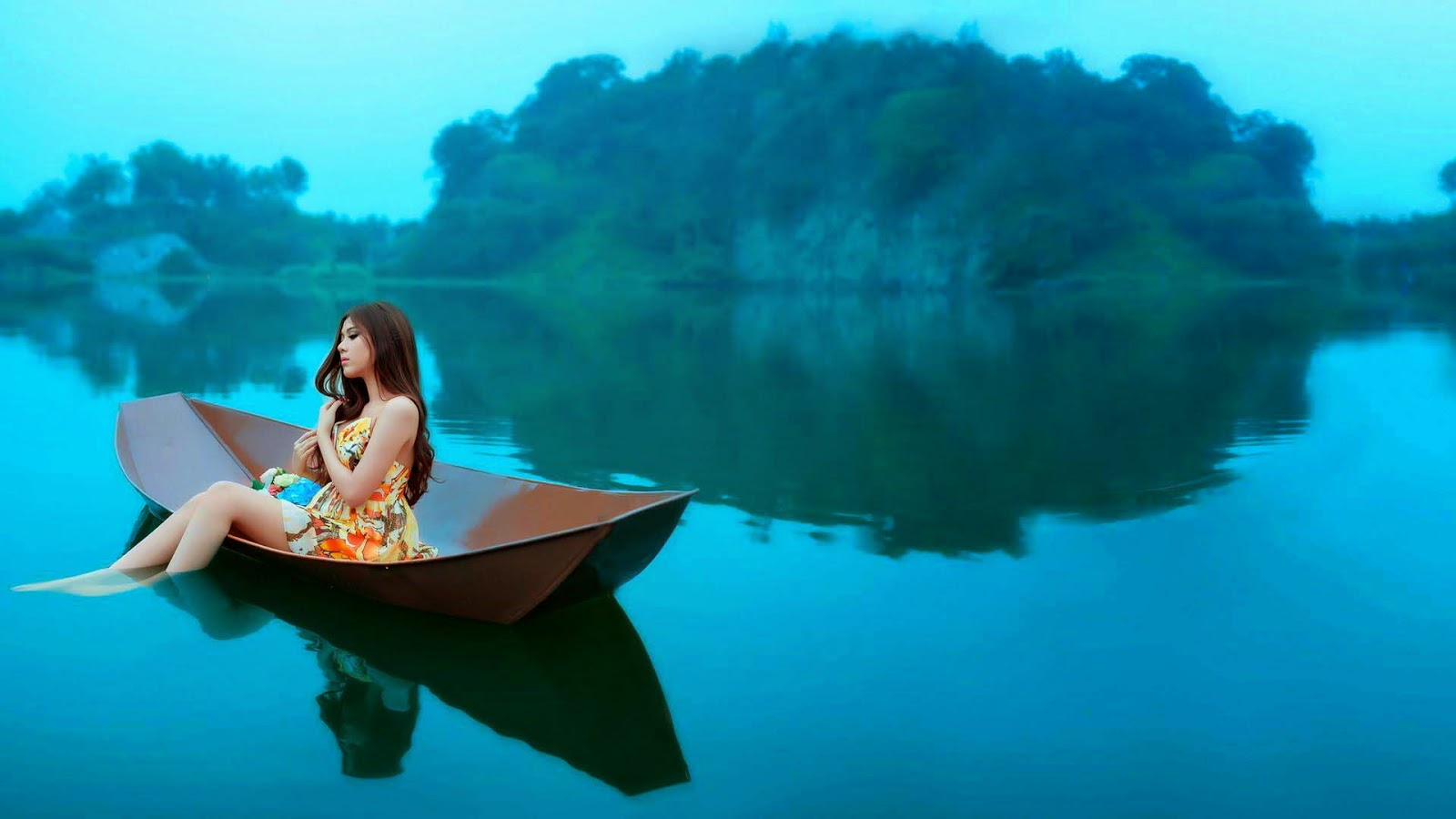 asian-girl-on-the-blue-lake-girl-hd-wallpapers