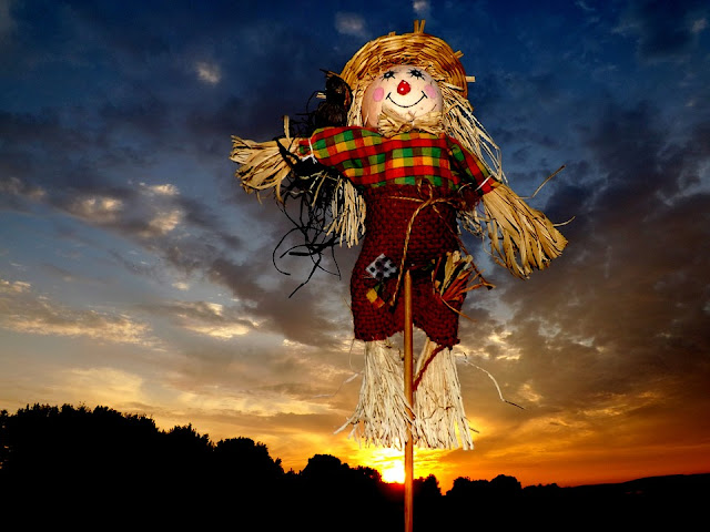 Scarecrow with a sunset