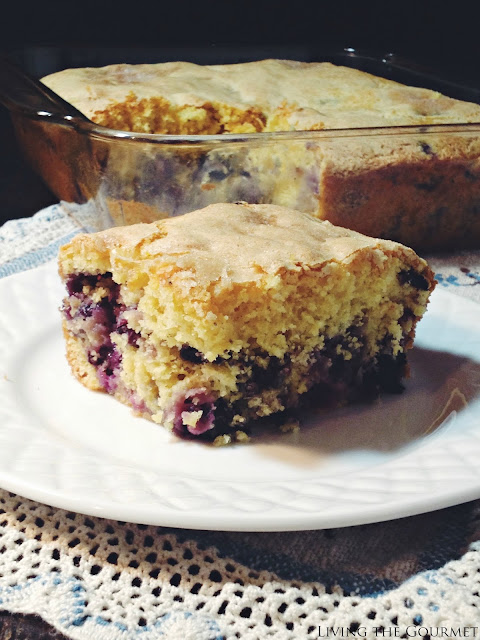 Featured Recipe | Buttermilk Blueberry Breakfast Cake from Living the Gourmet #SecretRecipeClub #recipe #cake #blueberry #breakfast