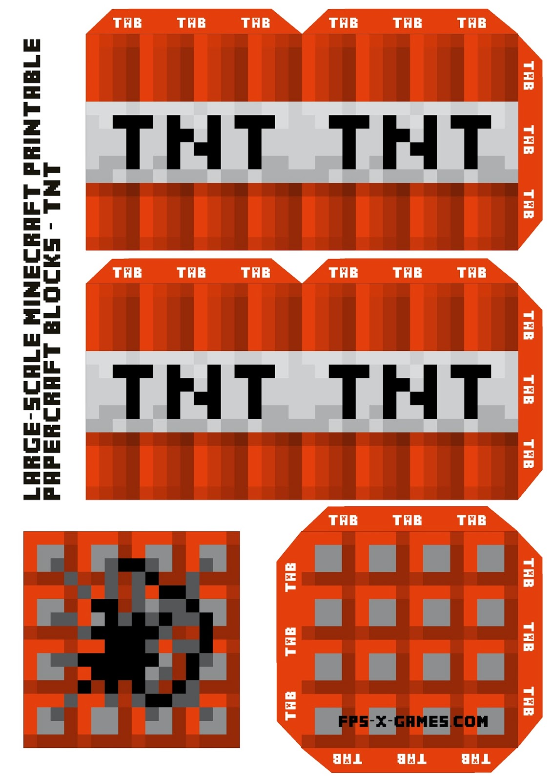 Large scale minecraft printable tnt block for Minecraft tnt block template