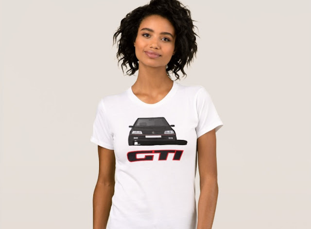 Peugeot 205 GTi t-shirt black with a badge