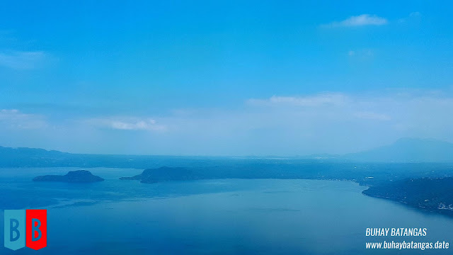 The northeastern side of Taal Lake, Makiling obscured by the haze in the distance.