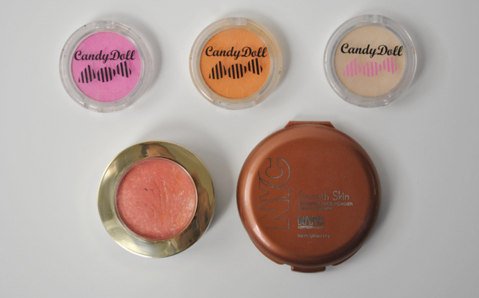 Candydoll Cheek Color Strawberry Pink, Candydoll Cheek Color Carrot Orange, Candydoll Cheek Color Highlight Cream Beige, Milano Baked Blush 08 Corralina, NYC Smooth Skin Bronzing Face Powder Sunny