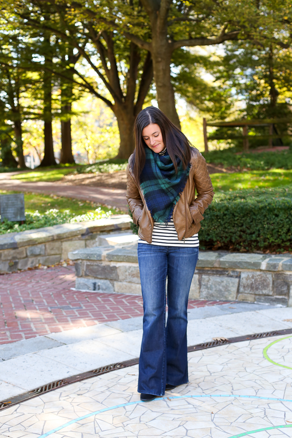 what to wear with flare denim for fall