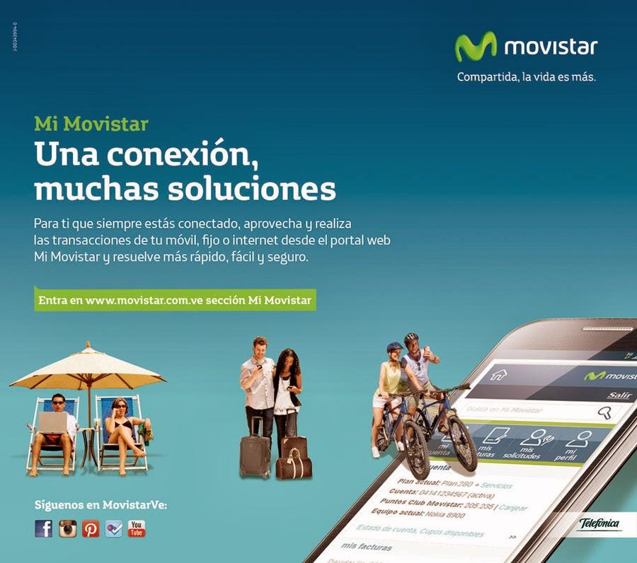 """Caracas, 25 de marzo de 2014.- Con la finalidad de ofrecer a sus usuarios la mejor tecnología móvil, Movistar lanza una nueva campaña para promover el uso de Mi Movistar, el portal de autogestión web donde los usuarios pueden gestionar su cuenta de telefonía móvil, fija e internet, de manera fácil, rápida y segura. Bajo el lema """"Una conexión, muchas soluciones"""" la nueva campaña de Mi Movistar inicia el 25 de marzo y finaliza el 22 de abril. Va dirigida a aquellas personas que siempre están conectadas a través de su teléfono inteligente o tableta y que desde cualquier lugar,"""