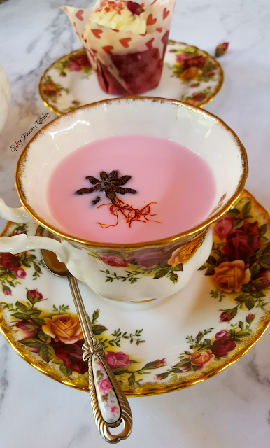 Kashmiri Pink Chai, Kashmiri pink tea, pink tea, noon chai, chai, food photography, drink photography, home-made chai, chai recipe, tea recipe, spicy tea, kashmir, kashmiri tea, pinterest, marble, flatlay, food flatlay, cupcake, red velvet cupcake, food, recipe, spicy fusion kitchen, cold day, warm drink, tea party, pink