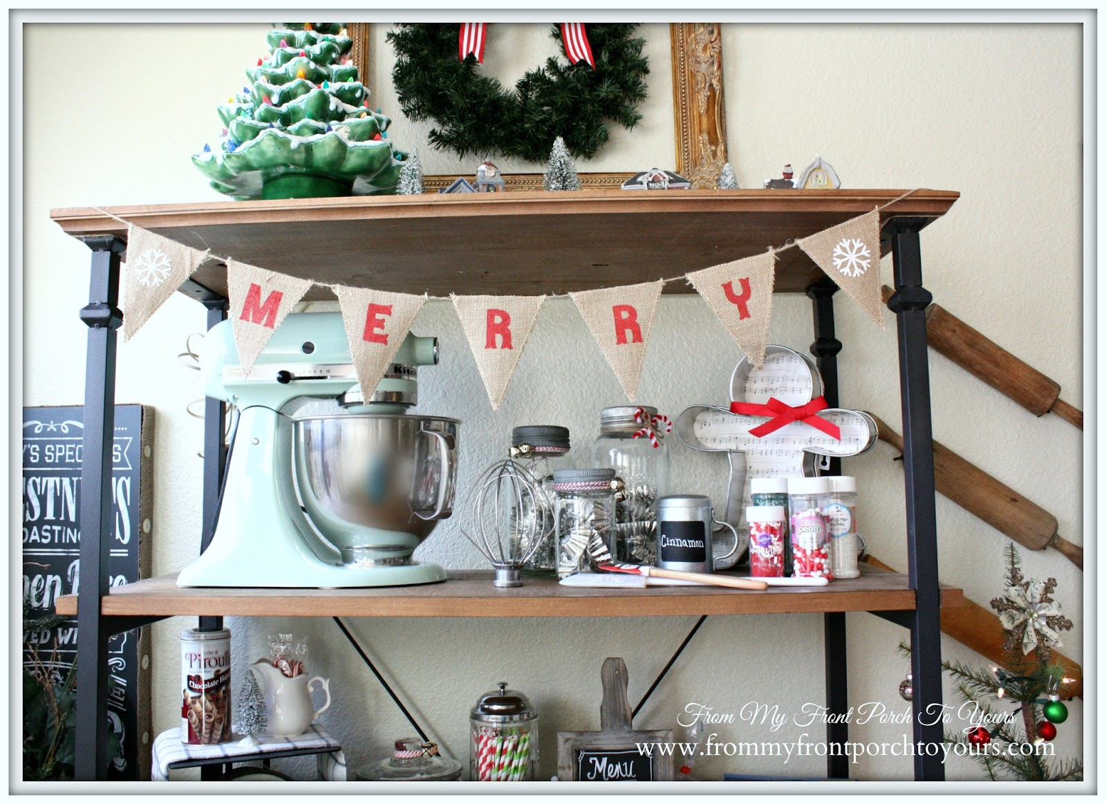 Pistachio Kitchen Aid Mixer-French Farmhouse Christmas Kitchen- From My Front Porch To Yours