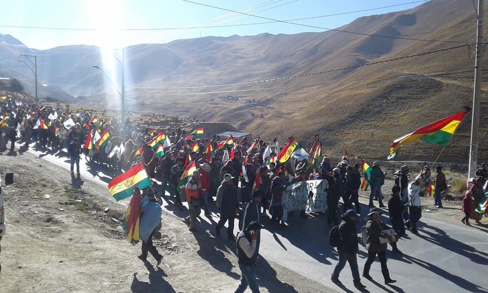 Ingreso de la marcha cocalera a la Sede de Gobierno este lunes tras siete días de caminata / CARLOS QUIS