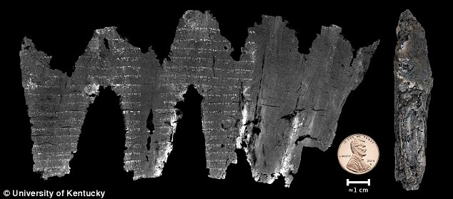 Text on The Charred 1,500 Year Old Scroll Revealed By Scinetists - Photo:  Daily Mail