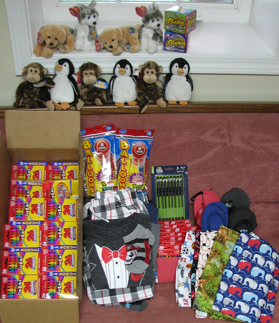 Donations for OCC shoebox packing.