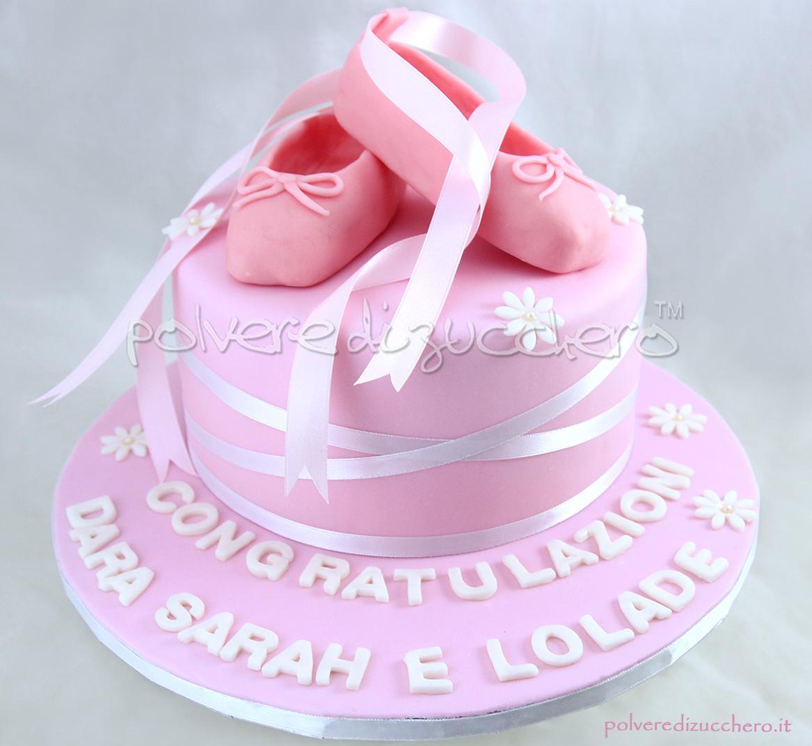 torta decorata cake design saggio di danza ballerina scarpe da ballerina punte da ballerina dance polvere di zucchero