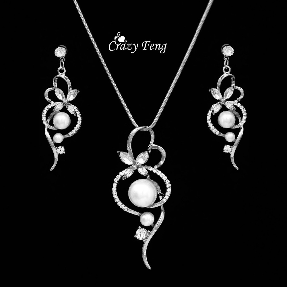 6e329c716 Jewelry Set Necklace Earrings silver plate pearl Crystal