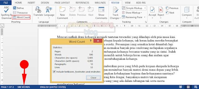 Menghitung Jumlah Kata dan Karakter di Microsoft Word