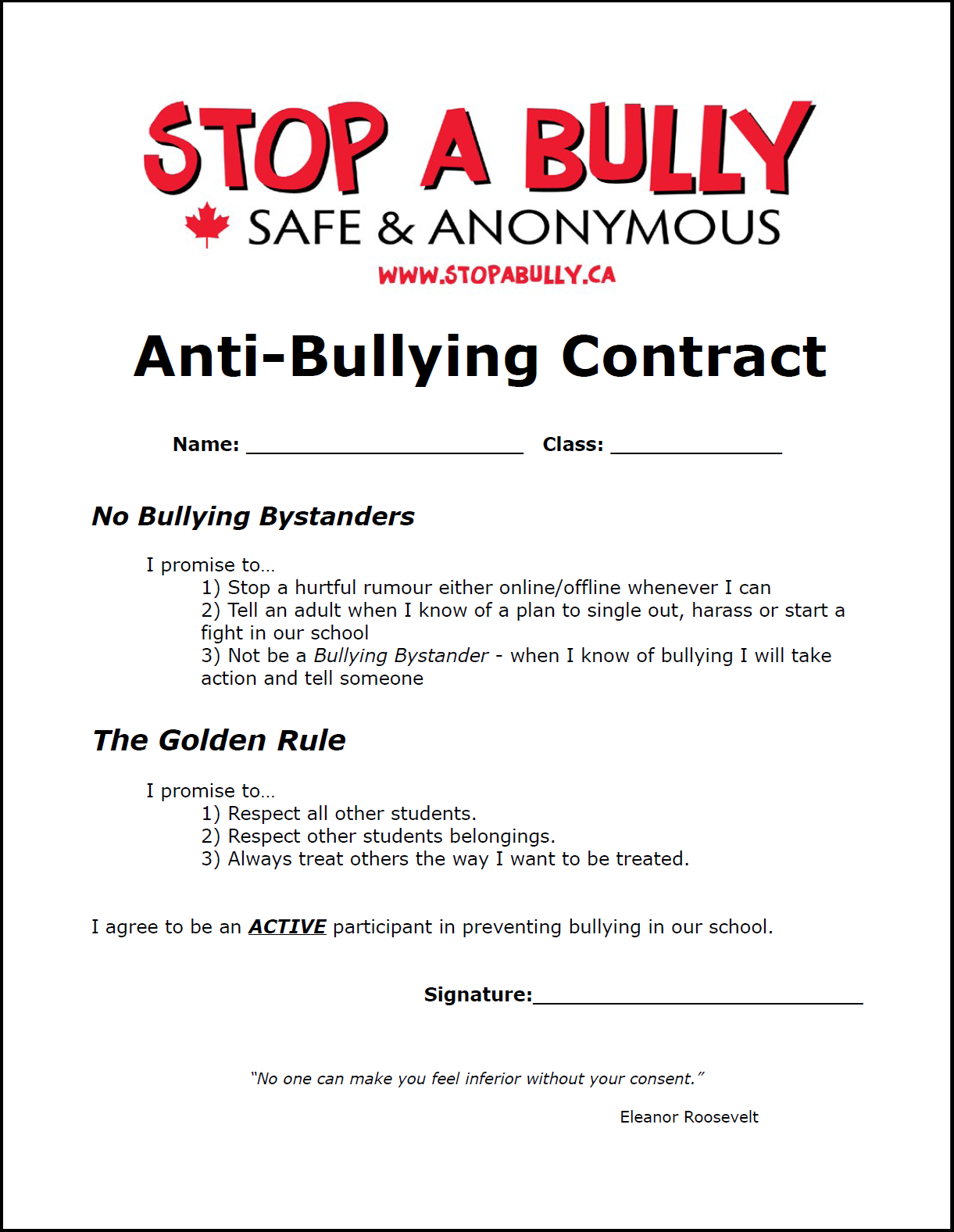 Anti Bullying Contract Printable The Anti Bully Blog