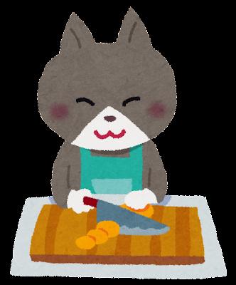 料理をする猫のキャラクターのイラスト