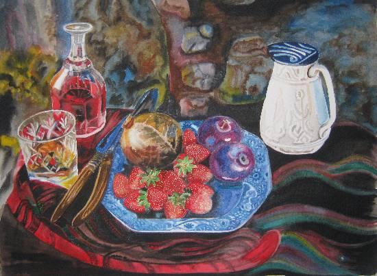Wine - Dine, painting by Poonam Juvale (www.indiaart.com)