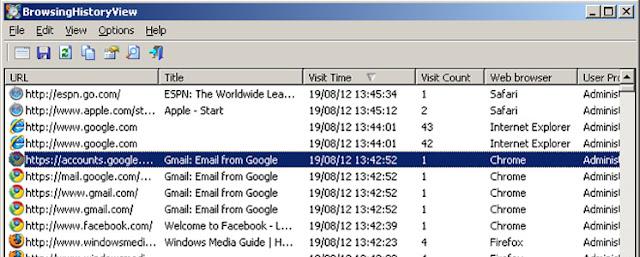 استعراض المواقع التي تم فتحها ، استعراض المواقع المفتوحة ، معرفة المواقع التي تم فتحها ، برنامج BrowsingHistoryView