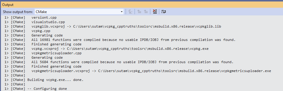Bootstrapping a vcpkg-based cmake project in Visual Studio
