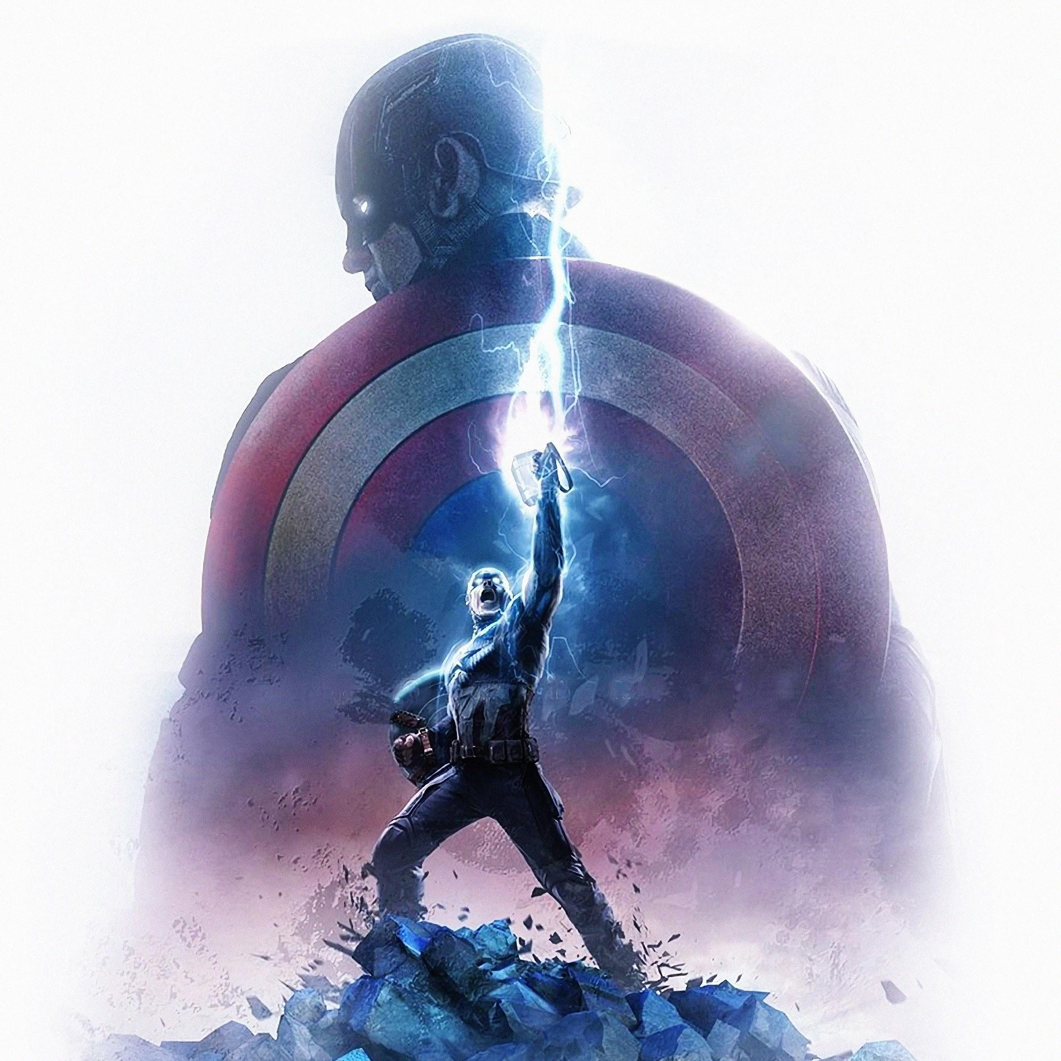 Avengers: Endgame, Captain America, Thor Hammer, Lightning