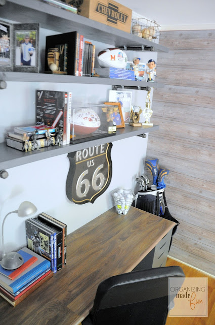 Industrial Inspired Shelving in a Teen Boy's Room :: OrganizingMadeFun.com