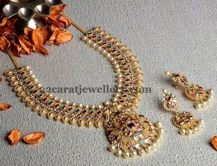 Antique Kundan Kasu Mala Jewellery Designs