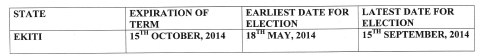 INEC Time Table For Ekiti State Elections