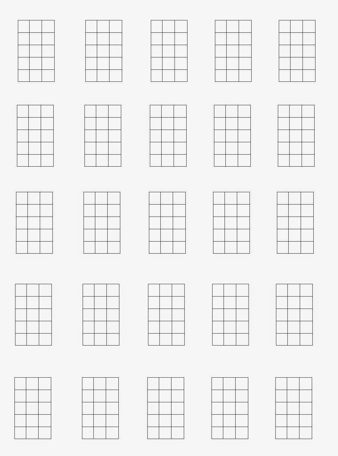 Guitar Corners Bass Chord Blocks Diagram Blank Charts 4 String Format 25 Per Page
