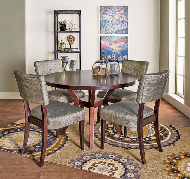 Living Spaces Dining Room Sets - Macie 5 Piece Round Dining Set