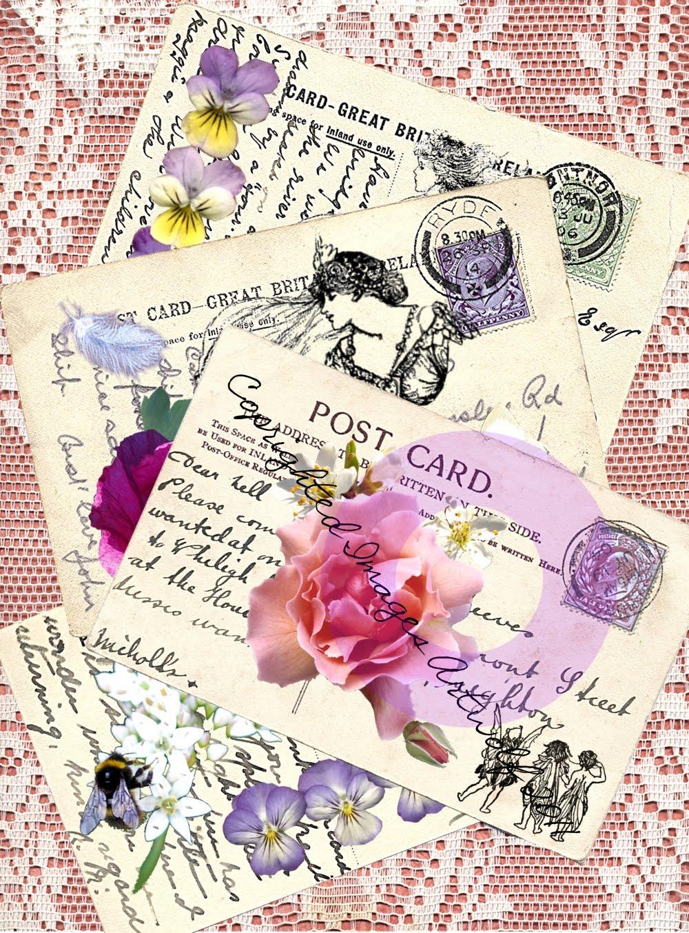 The Briar Rose Gate: Fairy Digital Vintage Style Postcards