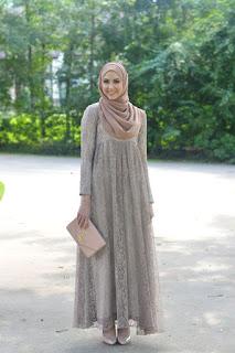 Dress Muslimah Bahan Brokat
