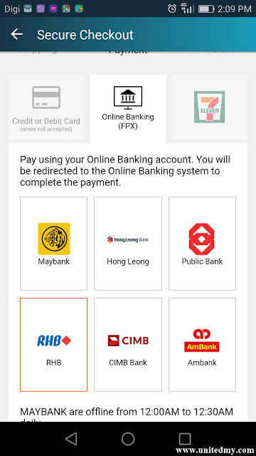 payment method in Lazada mobile