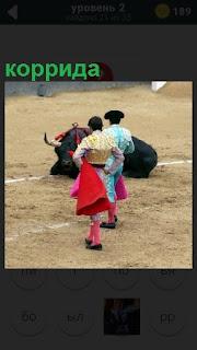 На арене происходит коррида, тореадор и поверженный бык