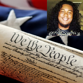 Image of American flag, US Constitution and photo of Michael